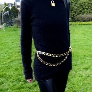VTG Gold Chain & Black Leather Adjustable Belt